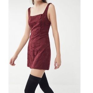 UO Hallie Embroidered Square-Neck Mini Dress